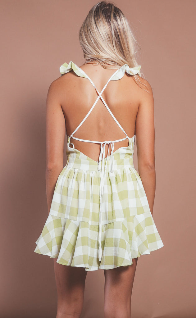 take me on a picnic romper - lime