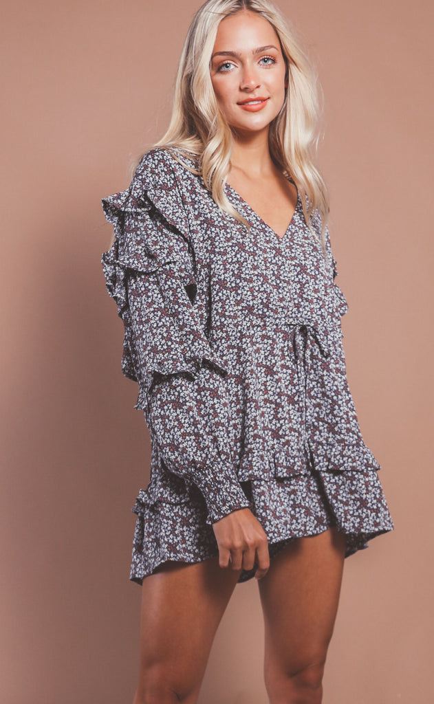 floral frenzy ruffle romper