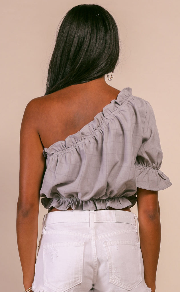 half sleeve ruffle one shoulder top