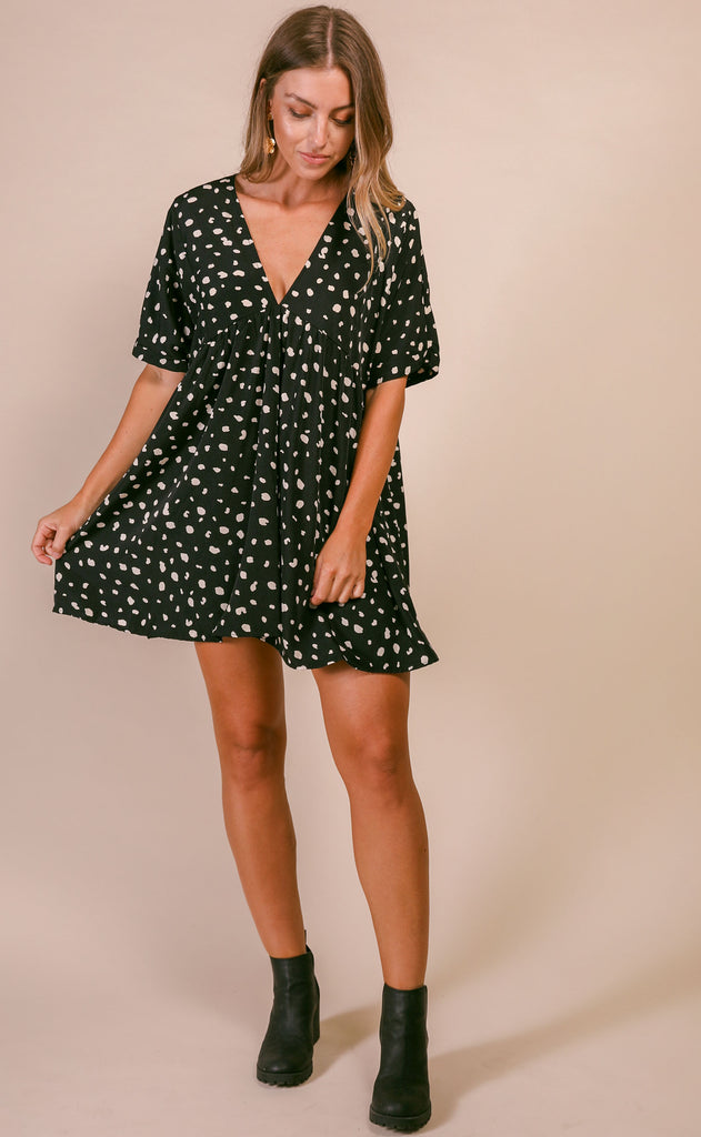 katey v-neck babydoll tunic dress - black