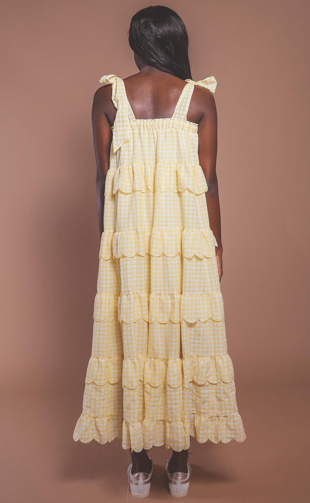 love is in the air tiered maxi - yellow gingham