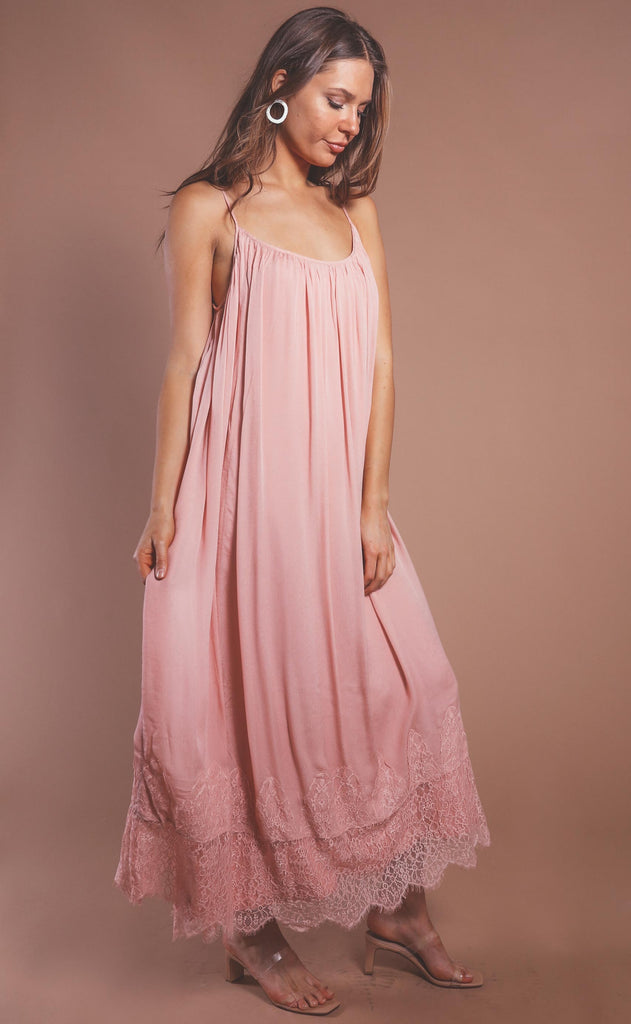 love in lace maxi dress - mauve