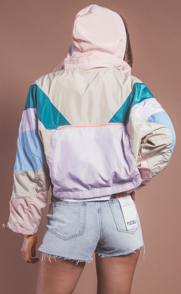 blank nyc: nylon colorblock windbreaker - home again
