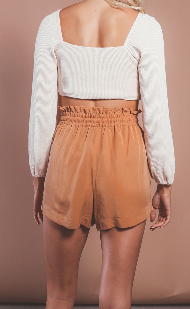 amuse society: sandy shores woven shorts - bronze