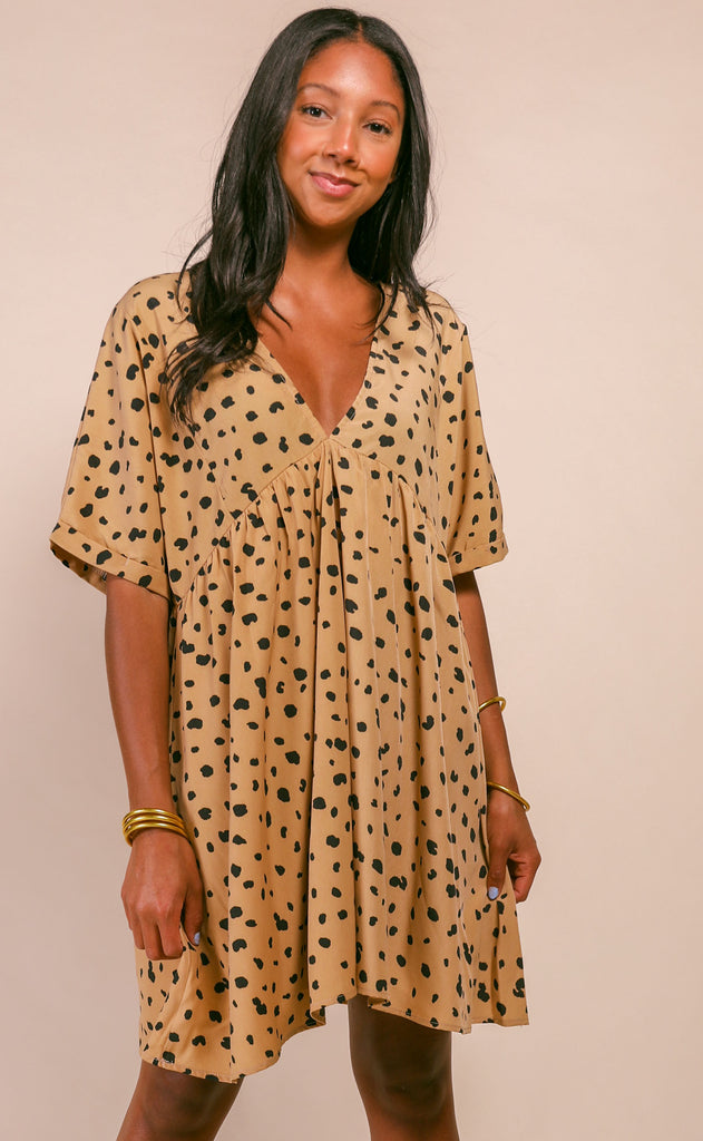 katey v-neck babydoll tunic dress - mocha