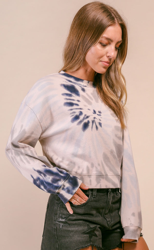 z supply: multicolor tie-dye pullover - indigo