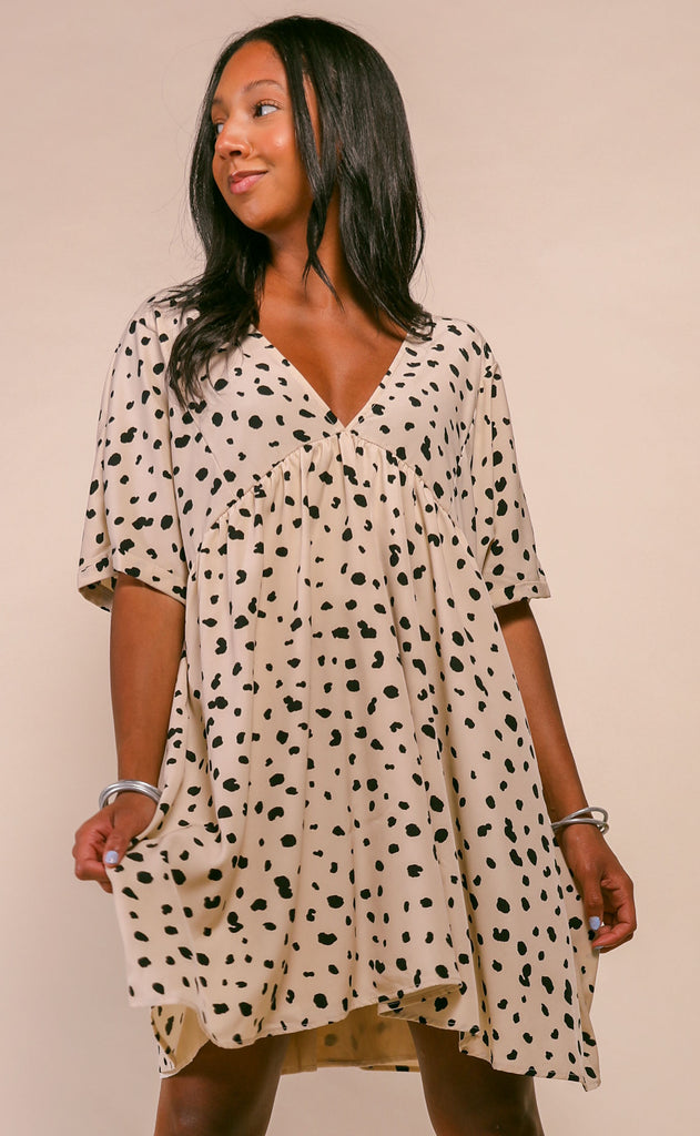 katey v-neck babydoll tunic dress - cream