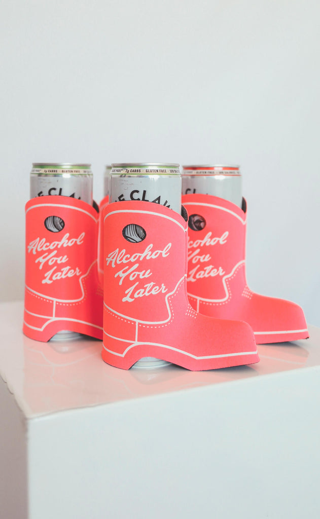 friday + saturday: alcohol you later cowboy boot drink sleeve [set of 4]