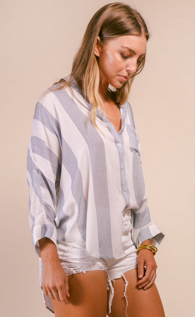 striped boyfriend shirt - blue