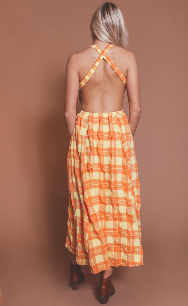 see you at sunset plaid maxi