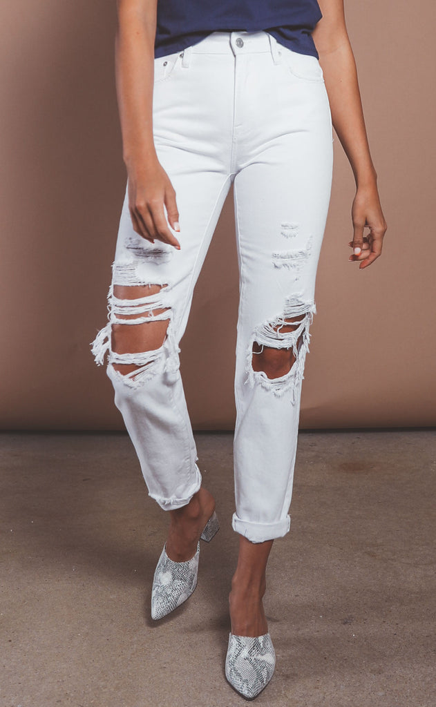 pistola: presley high rise relaxed jeans - blizzard