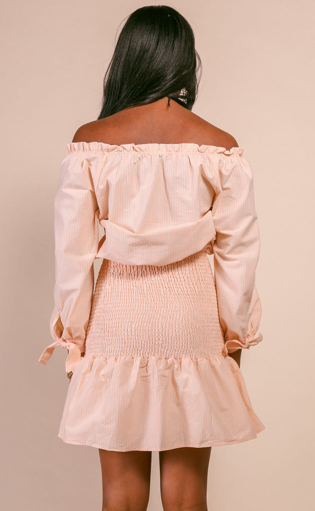 carolina smocked off shoulder dress - peach