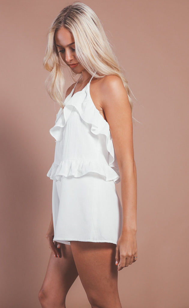 sky is the limit ruffle romper - off white