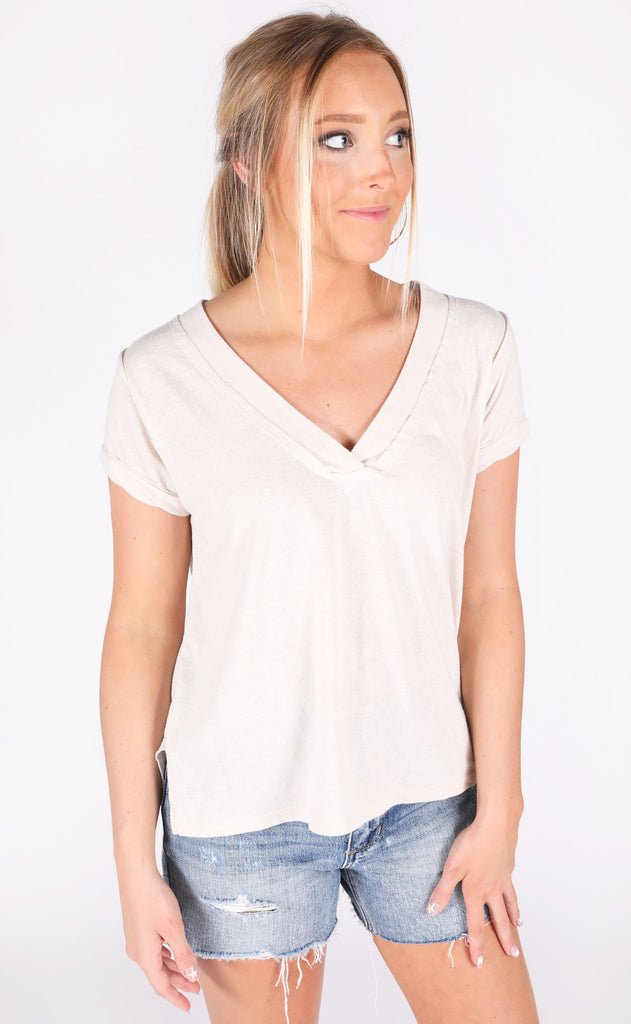in and out v-neck tee - beige