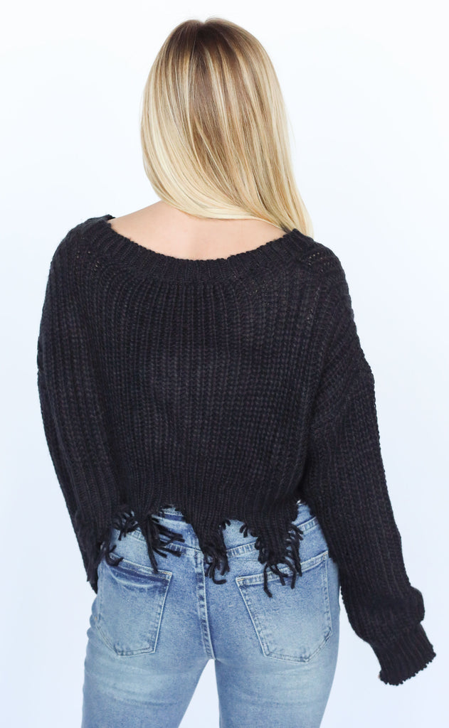 in distress cropped cardigan