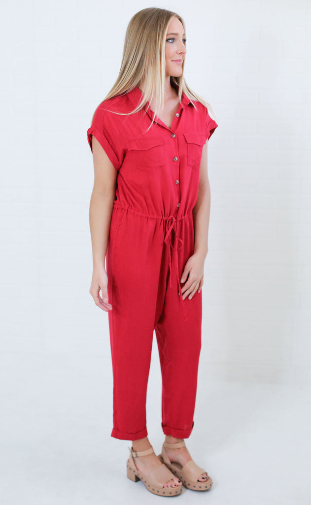 in my feelings button up jumpsuit