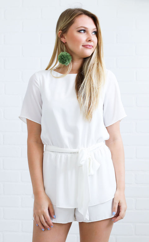 in the city basic romper - white