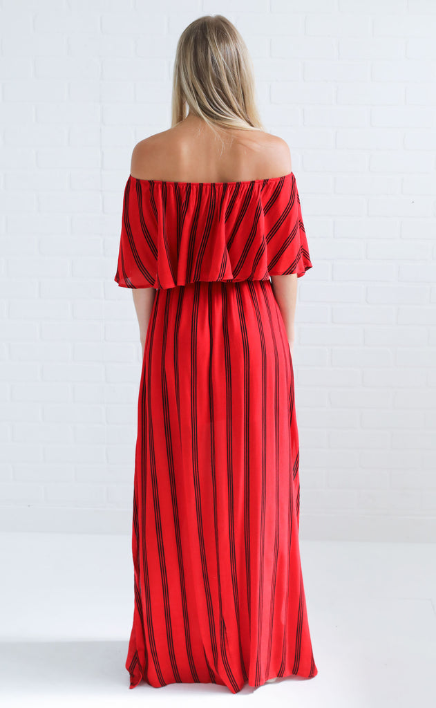 in the game maxi dress - red