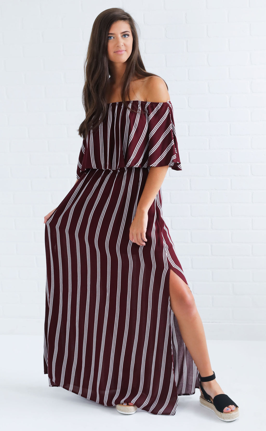 in the game maxi dress - maroon