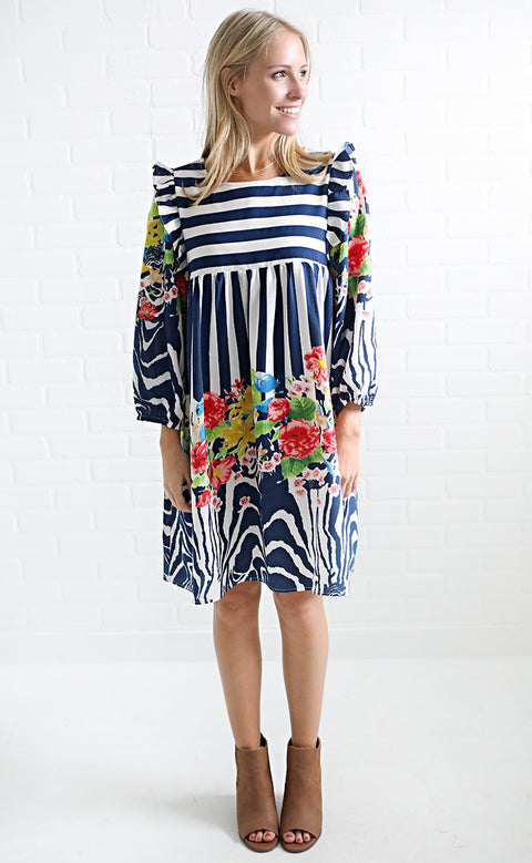in the mix floral dress - blue