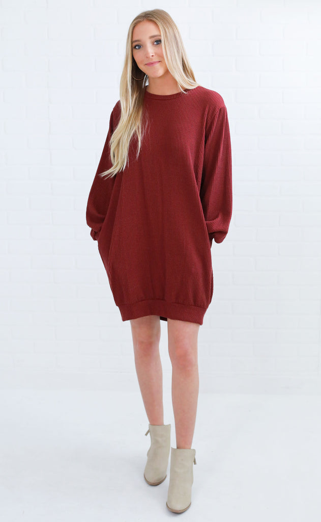 in the shadows knit dress - brick
