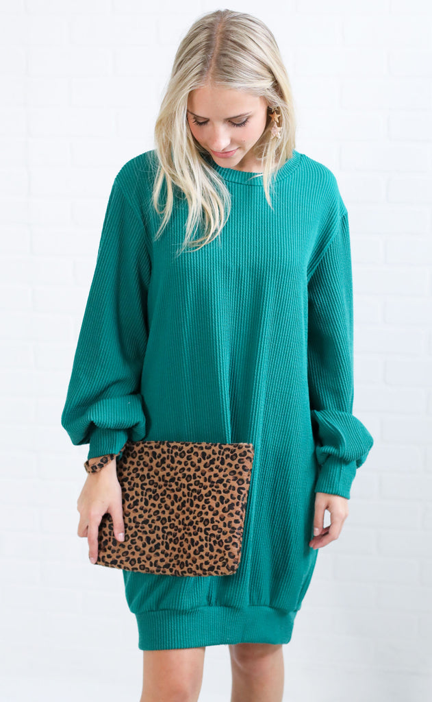 in the shadows knit dress - green