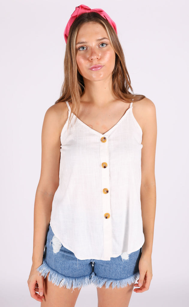 it's a date button up top - ivory