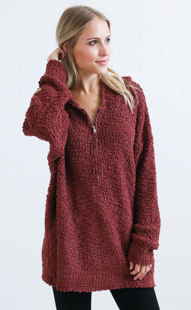 it's a vibe hooded sweater - dark red