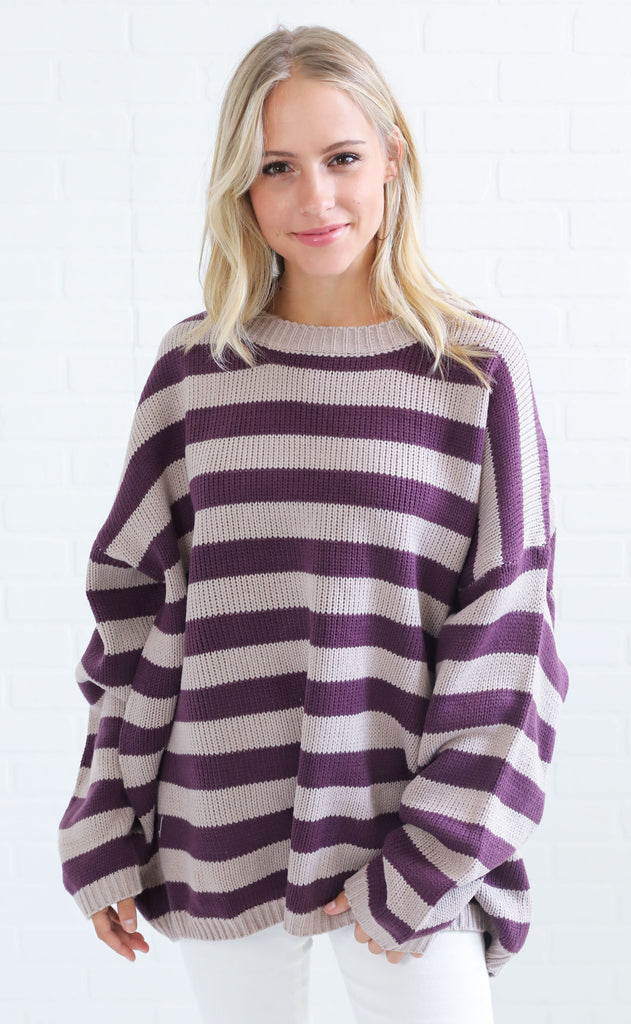 jailhouse rock striped sweater - purple