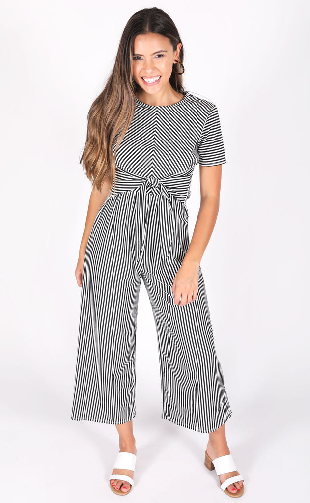 jailhouse rock striped jumpsuit