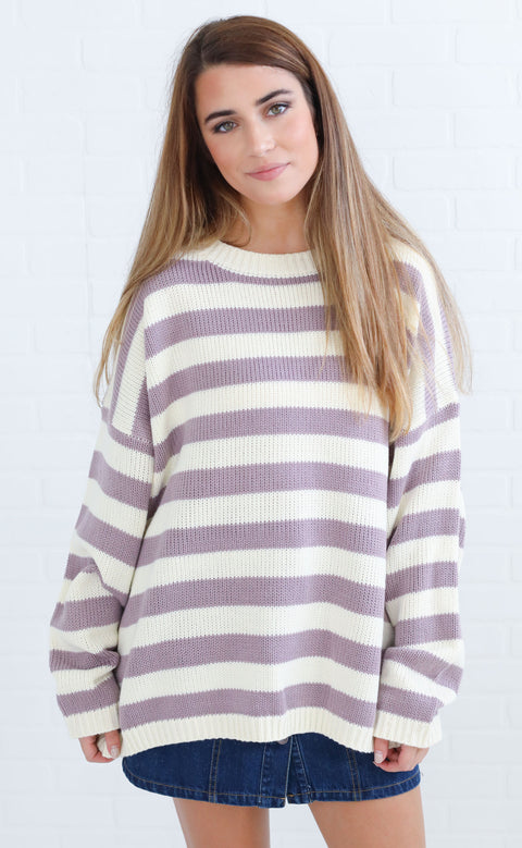 jailhouse rock striped sweater - lavender