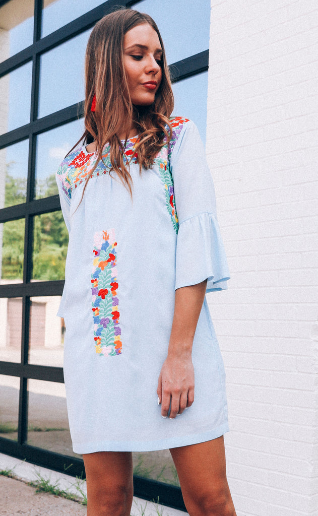 j.marie: brinkley dress - light blue multi