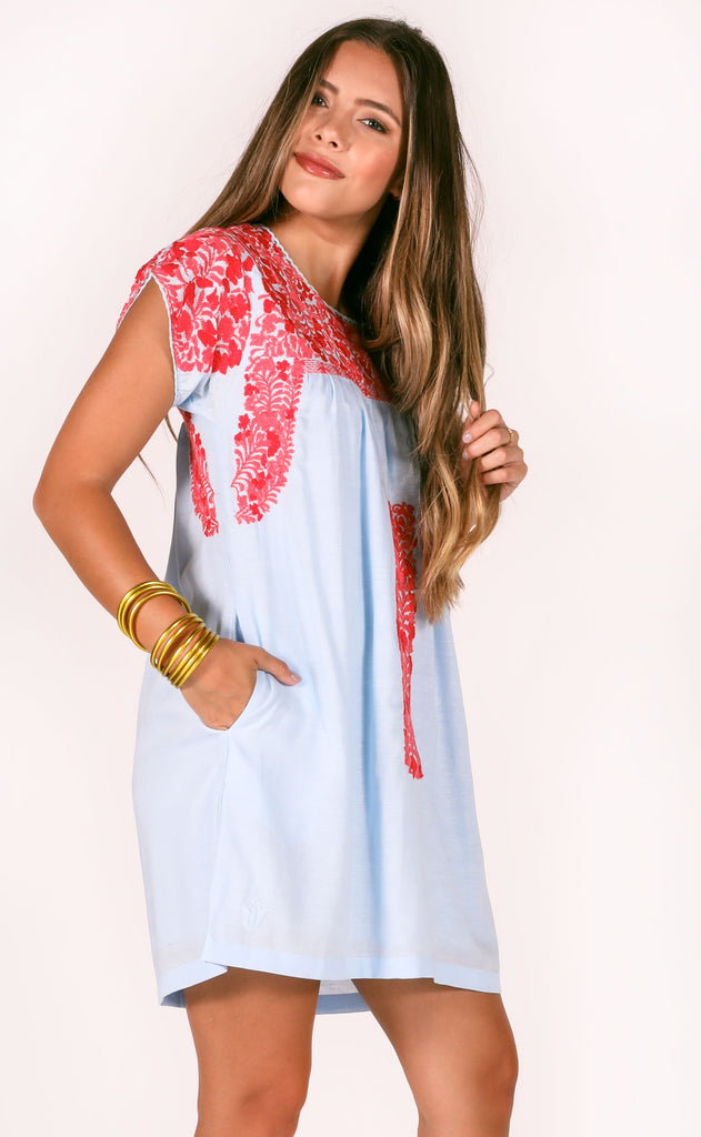 j.marie: caroline dress - light blue/pink
