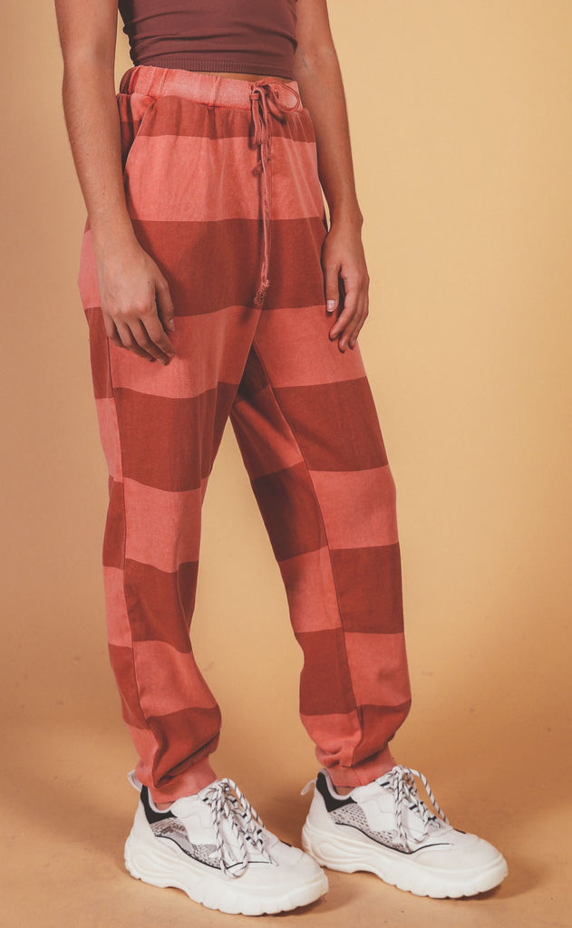 rugby striped lounge pant - red
