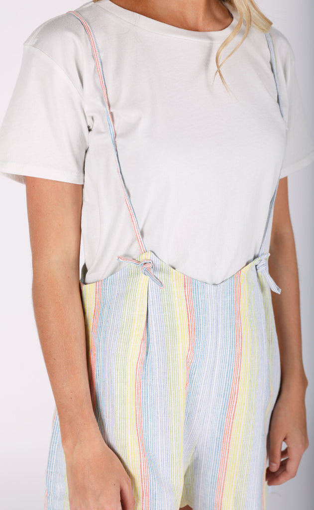 jordie short romper - multi stripe