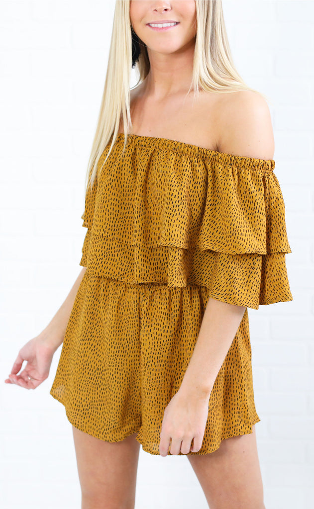 jungle party printed romper - mustard