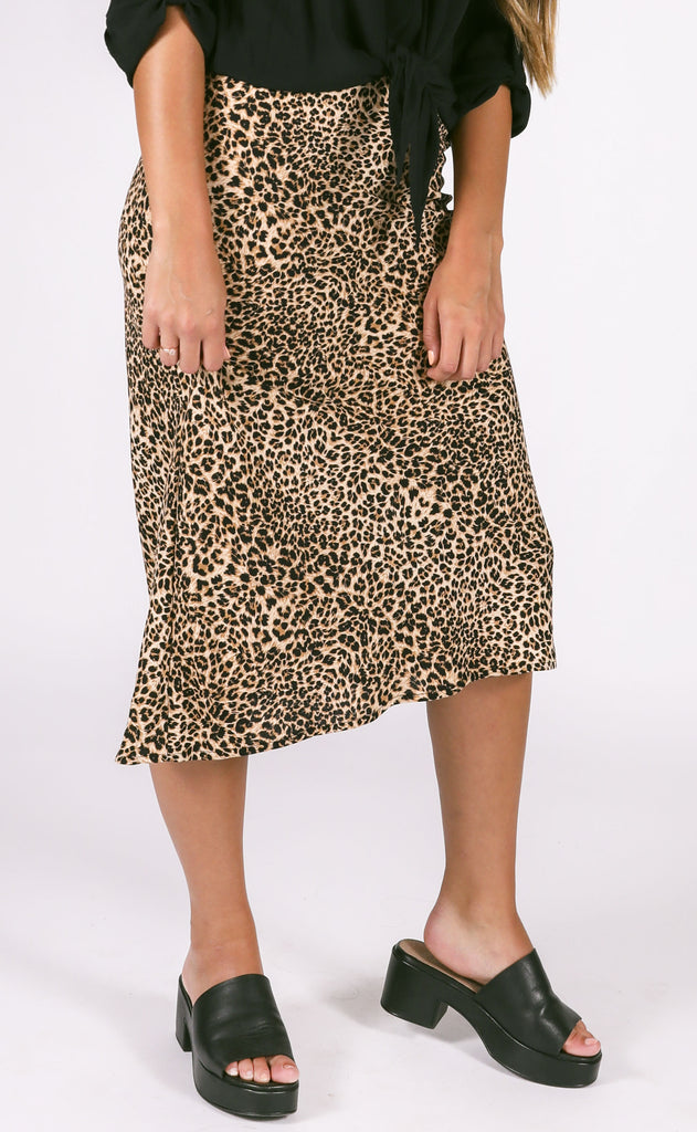 jungle printed midi skirt