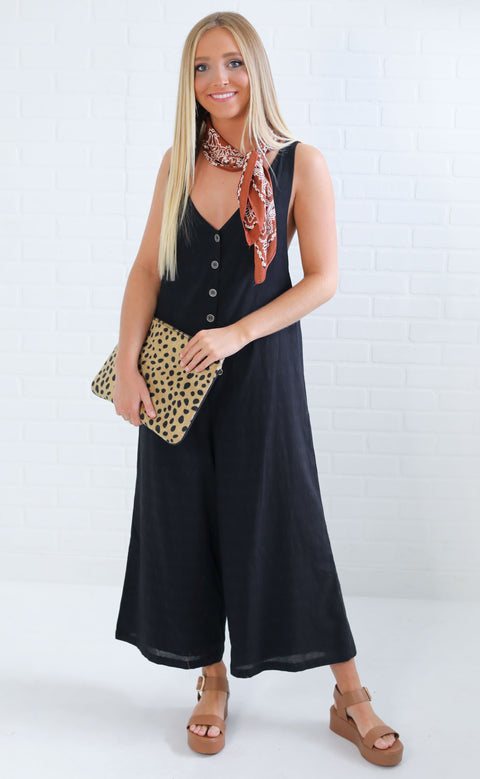 just chillin' slouchy jumpsuit - black