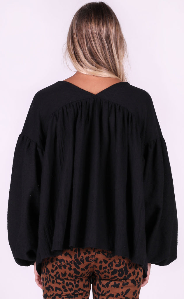 just flow with it babydoll top - black