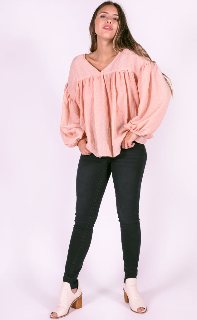 just flow with it babydoll top - blush