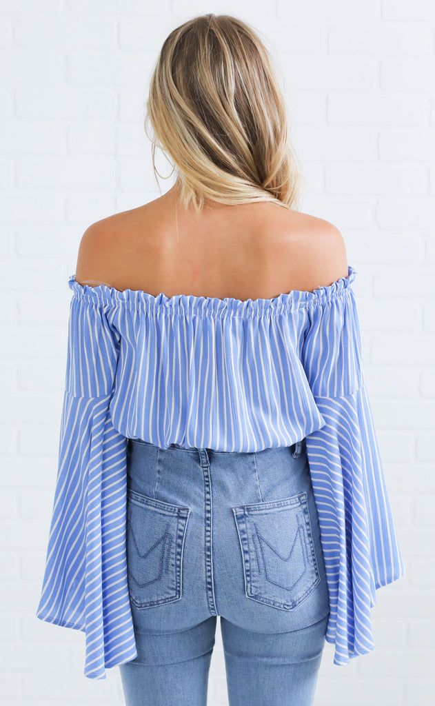 just my stripe crop top - blue