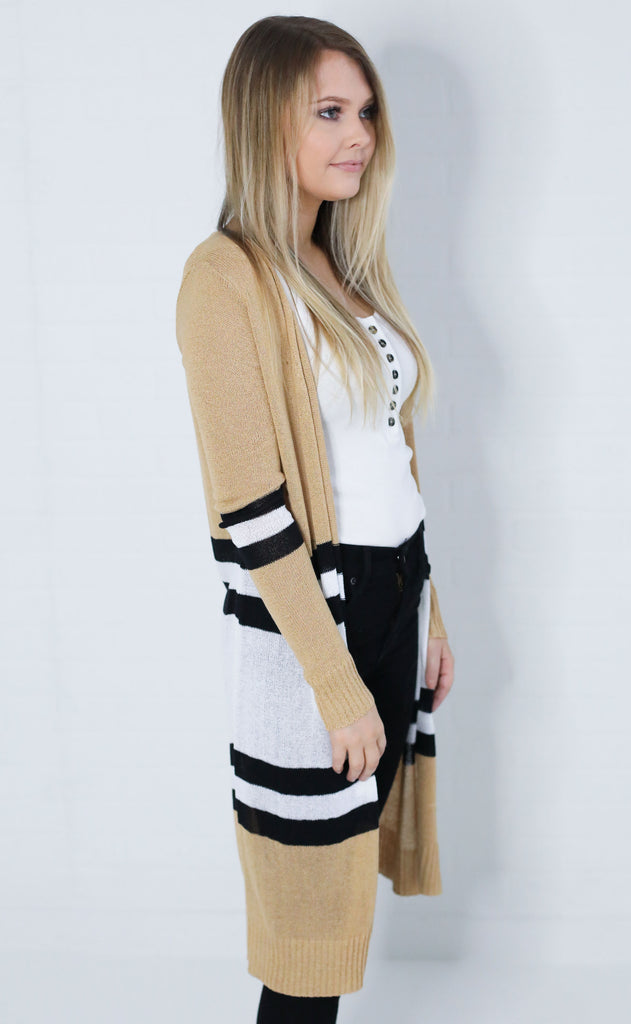 just my type striped cardigan