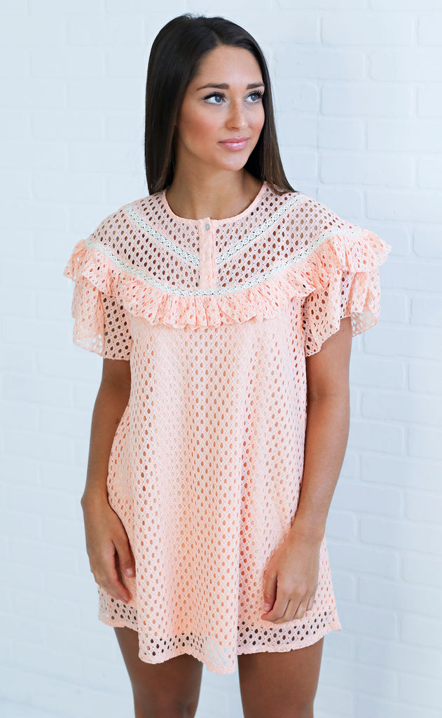 just peachy lace dress