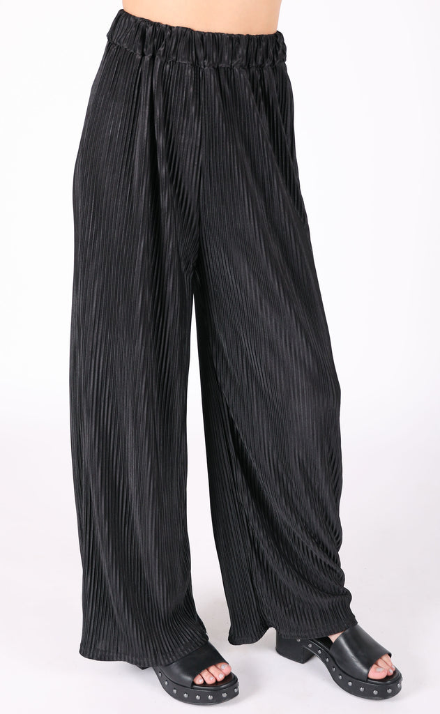 just pleat it flare pants - black