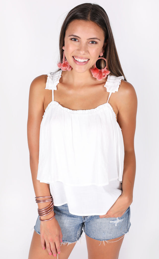just pleat it tank top - white
