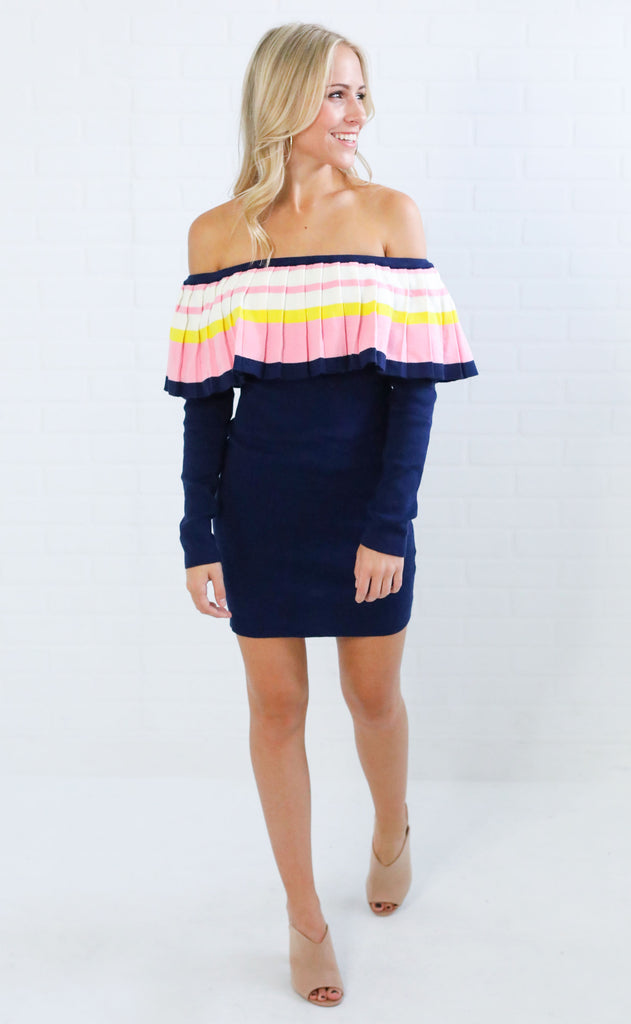 just pleat it off the shoulder dress