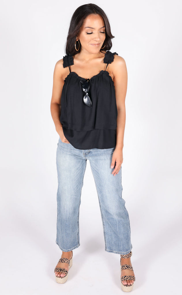 just pleat it tank top - black