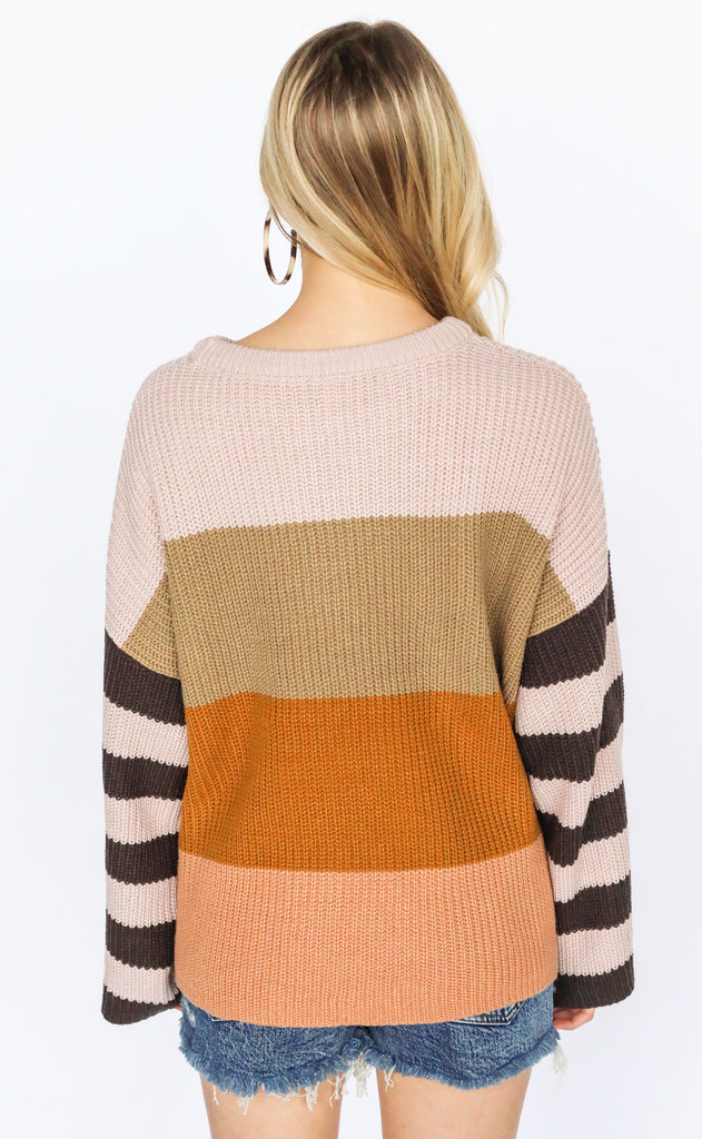 keep knit cool striped sweater - mocha