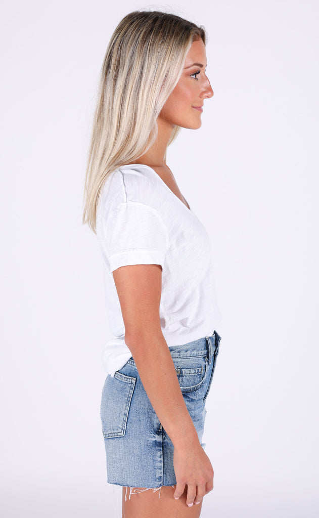 keep it cool distressed top - ivory