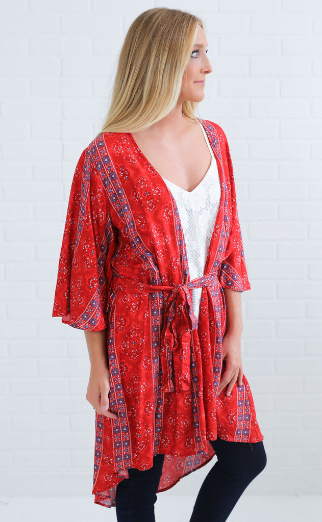 keep it real printed kimono